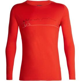 Icebreaker 200 Oasis Deluxe Single Line Ski Raglan LS Crew Shirt Herren chili red